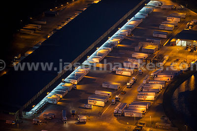 Aerial view of distribution centre at night