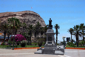 Monument to Benjamín Vicuña Mackenna, El Morro headland in background, Arica, Region XV, Chile