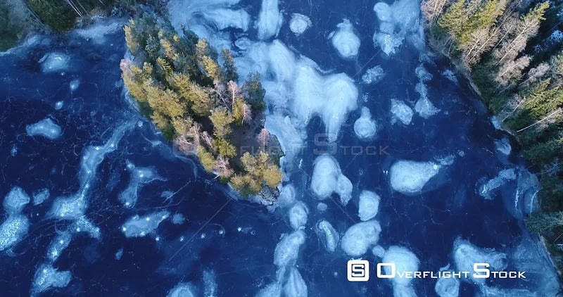 Aerial shot of patterns in a frozen lake, Lake Langen, Akershus, Norway, December 2017.