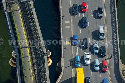 Aerial view of bridge over the River Liffey, Dublin, Ireland