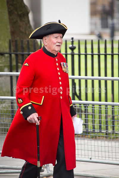 Male Chelsea Pensioner  walking to Westminster Abbey