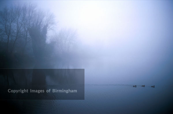 A foggy Horsehay lake in Telford. Shropshire, England, UK.