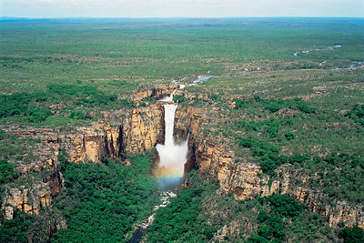 Aerial view of Jim Jim Falls, wet season. Kakadu NP, Northern Territory, Australia