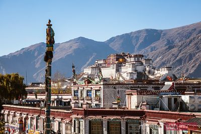 Barkhor square and Potala palace, Lhasa, Tibet