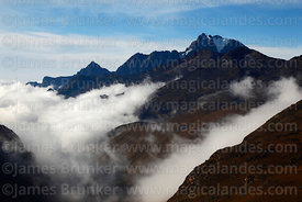 Cloud rising up the Zongo Valley, Mt Tikimani on RHS, Cordillera Real, Bolivia