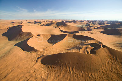 Aerial view of sand dunes in Sossusvlei, Namibia