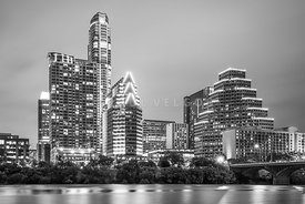 Austin Texas Skyine at Night Black and White Photo