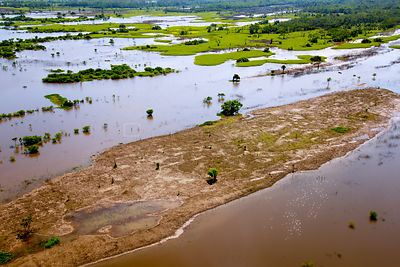 Aerial view of the Amazon River flood plain near Iquitos, Peru. July 2015.