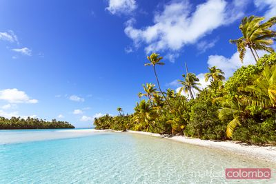 Beach of One Foot Island in the lagoon of Aitutaki, Cook Islands