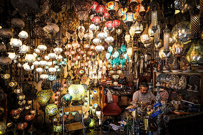 Traditional Turkish lamp store.