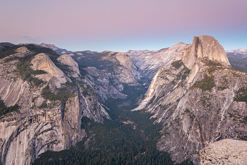 Half Dome and Yosemite Valley from Glacier Point, California, USA. October 2013.