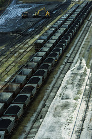 UK Trentham -- 1993 --  Train trucks to transport coal from Trentham Colliery Staffordshire England UK -- Picture by Jonathan...