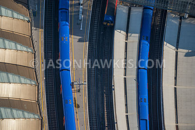 Aerial view of London close up trains at Waterloo Station