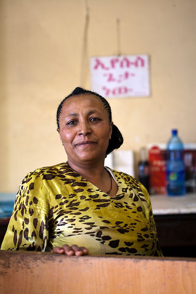 Ethiopia - Addis Ababa - A waitress in the Ras Makonnen pastry and coffee house