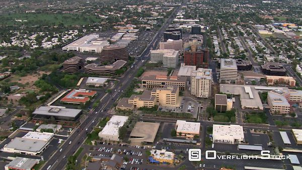 Flight over downtown area toward suburbs of Scottsdale, Arizona.