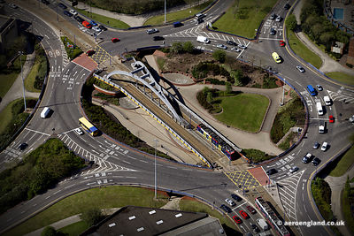 aerial photograph of Wishbone Bridge carrying the Midland Metro line over a roundabout on the  A454 Wolverhampton Wolverhampt...