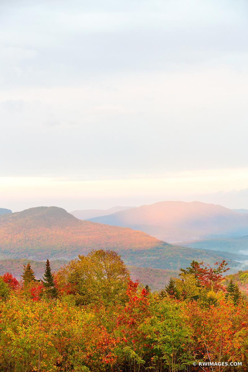 SUNSET WHITE MOUNTAINS KANCAMAGUS HIGHWAY NEW HAMPSHIRE FALL COLORS VERTICAL NEW ENGLAND LANDSCAPE