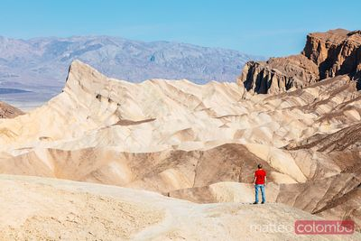 Tourist at Zabriskie point, Death valley, USA