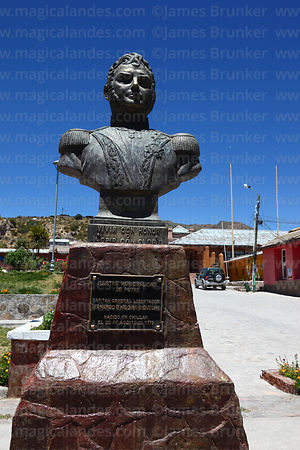 Statue of General Bernardo O'Higgens Riquelme in main square, Putre, Region XV, Chile