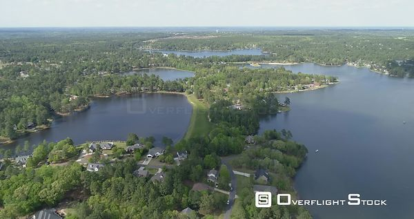 Establish shot over the Suburb with Carolina Lake. Sanford, North Carolina