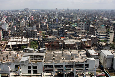 Aerial view of developing world capital city, Dhaka, Bangladesh, November 2008
