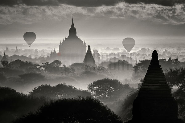 Elevated View of Pagodas and Hot Air Balloons at Dawn