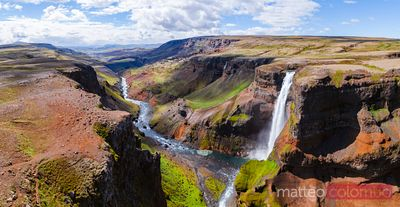 Aerial pano view of Haifoss waterfall in summer, Iceland