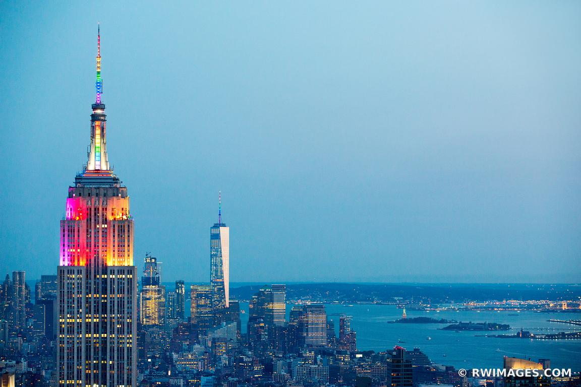EMPIRE STATE BUILDING FREEDOM TOWER MANHATTAN SKYLINE NEW YORK CITY COLOR