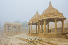 Temple structures, Gadisar Lake, Jaisalmer, Rajasthan, India