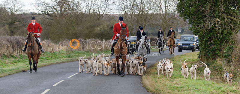 Andrew Osborne MFH and the Cottesmore hounds - The Cottesmore Hunt at Ashwell Grange 9/12