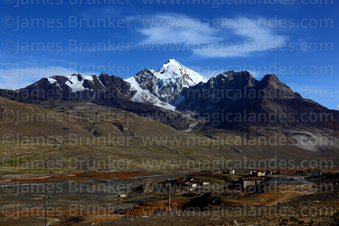 View over mine at Milluni, Mt Huayna Potosi in background, Cordillera Real, Bolivia