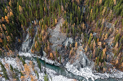 Aerial view of the Ketoy river, Siberia, Russisa,  October 2010.