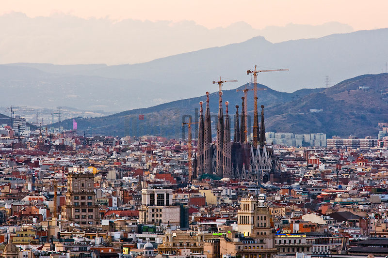 Barcelona Skyline and Sagrada Familia