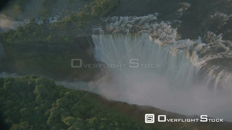 Aerial overhead shot looking straight down and circling over top of Victoria Falls Victoria Falls Zimbabwe