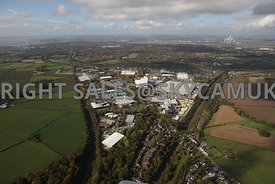 Runcorn high level aerial photograph of Whitehouse Industrial Estate showing the M56 motorway running towards the west and Ru...