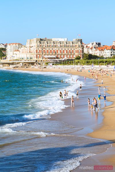 la Grande Plage beach crowded by tourists, Biarritz, France