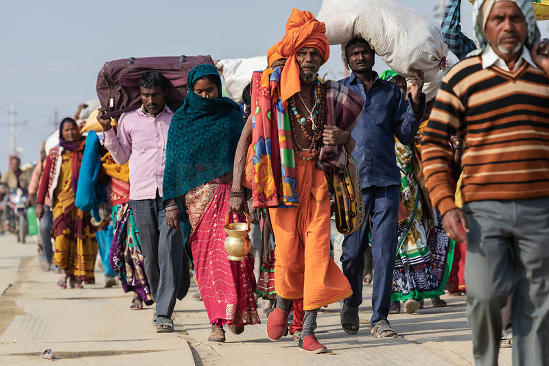 Pilgrims Walk on Foot to the Kumbh Mela