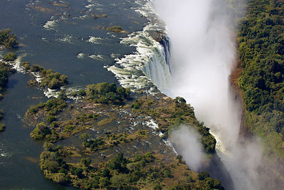 Aerial view of Victoria Falls Waterfall,  Zambezi River at the border of Zimbabwe and Zambia, Mosi-oa-Tunya / Victoria Falls ...