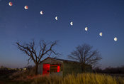 Old Barn and Blood Moon Eclipse