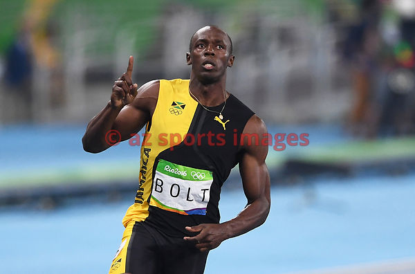 RIO DE JANEIRO, Brazil, AUGUST 13.# ATHLETICS. Usain Bolt wins the 100m gold medal. Usain Bolt ran 100m in 9.80 seconds, winn...