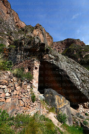 Cave that is the site of Ñaupa Iglesia shrine / huaca, Huaracondo Valley, Cusco Region, Peru