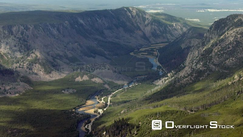 The Madison River winds through a steep canyon near Mount Haynes in Yellowstone National Park