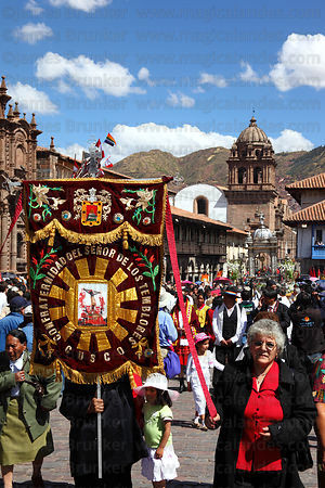 Devotees of Señor de los Temblores during parades for Corpus Christi festival , Plaza de Armas , Cusco , Peru