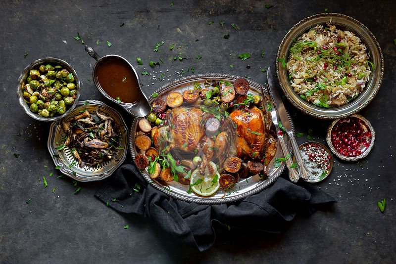 Roast Chicken Dinner with Fennel Rice, Brussels Sprouts, Baked Potato , Sautéed mushrooms - Gluten-free.