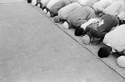 Ahmadiyyas praying at their mosque in Rabwah, Pakistan