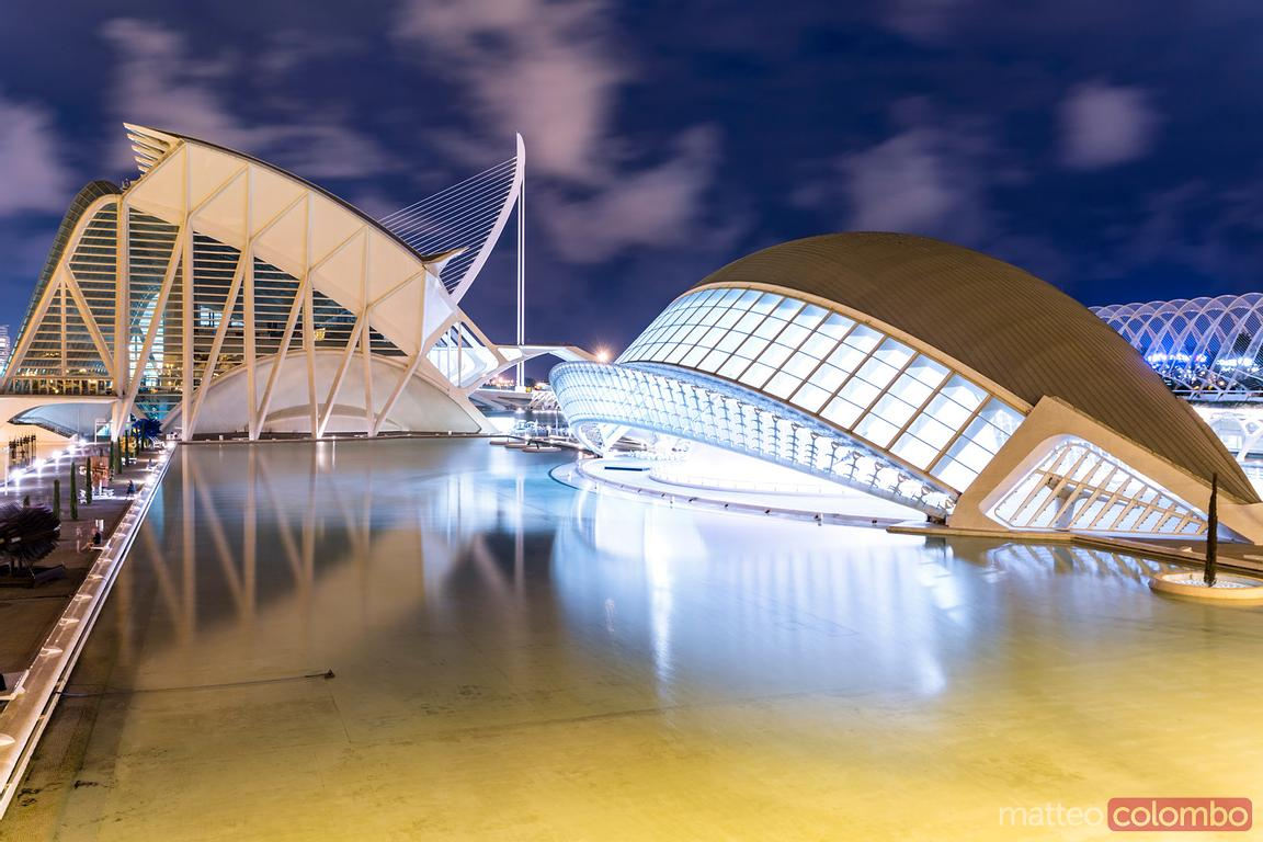 Spain, Valencian community, Valencia. The City of Arts and Sciences (Ciudad de las Artes y las Ciencias), the Hemispheric at ...