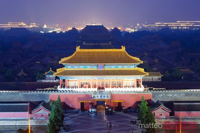 Beijing, China. Forbidden city at night, elevated view