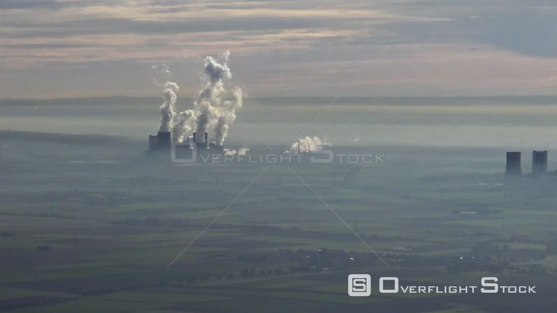 Ensemble of the combined heat and power stations and exhaust towers of RWE Kohle- Kraftwerke near Neurath and Niederaussem in...