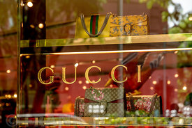 SINGAPORE CITY, SINGAPORE - OCTOBER 09, 2016: A window display of handbags at a Gucci store in Singapore.  Gucci is an Italia...