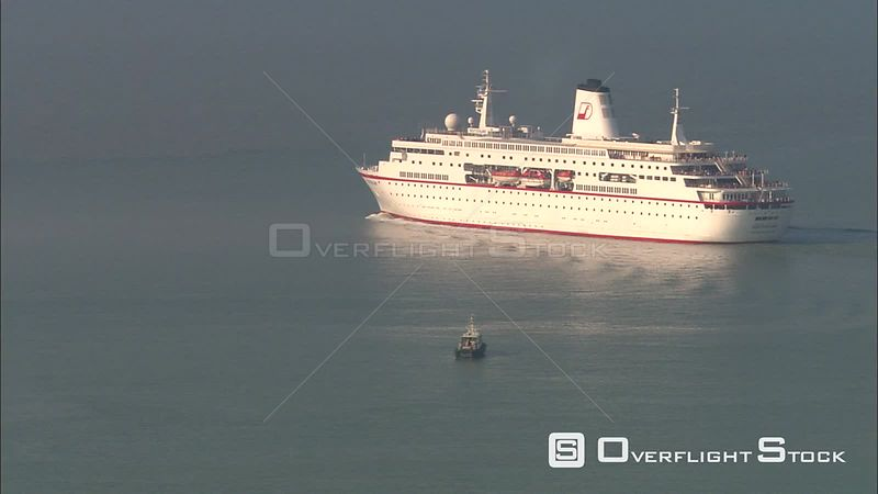 Cruise ship leaving harbor at Zeebrugge, Belgium